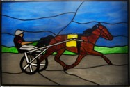 Standardbred Trotter and race bike - This piece measures 14 x 20, colors can be customized