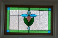 Victorian Transom Window - This 21 x 13 panel features a mixture of opaque, clear and colored hammered glass