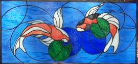 Koi Fish Stained Glass Transom Window - This 31 x 15 piece was designed and installed in a bathroom transom window.