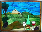 Sonora Farm wine cellar panel - This Panel is a collaboritive design with a client for the main house of their horse farm. Measuring 31.5 x 23.5 it features many different colors of hand rolled opaque glass.