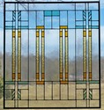 Frank LLoyd Wright inspired Style Panel - This 18 x 20 panel features artique clear glass and rough rolled earth toned colors