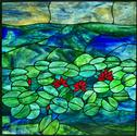 Monets Water Garden 2 - This is another commissioned 25 x 25 panel. This panel features 90% Youghiogheny art glass and is a smaller version of our original.