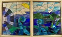 Waves Of Peace -  The Penn State Cancer Institute commissioned us to create these two 38 x 45 panels project for the waiting room of their Cancer Infusion center in Hershey Pa.