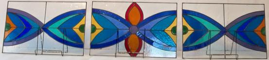 Prancing Peacock Yoga Studio Panels (before installation) - We created these three- 19 x 13 panels for our clients transom windows in her yoga studio.