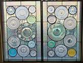 Vintage Plate Panels - These two 18 x 28 panels were made with a customer's vintage glass plates for her kitchen windows.We can create a panel for you to view your own plates or surprise someone with a collection of their favorite plates.