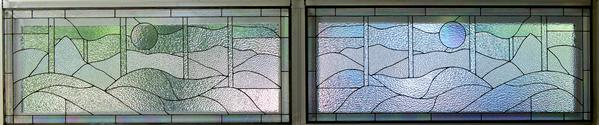 Clear Textured Glass Landscape Panels - 2 panels measuring 52 x 25 each. We used all clear glass with an irredescent clear border and circle.Side by side window panels .