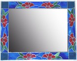 Poppy Flower Mirror  - This beautifull 31 x 31 poppy flower design mirror uses virant colored opaque glass.