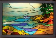 Christines landscape at the Lawrenceville Inn, N.J. - This 30 x 24 intricate Landscape features all types of brilliant opaque glass. We also made the light box for it to hang in a local restaurant.