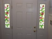 Rose Panels - Inside - These 7.5 x 35 panels were designed for privacy in a busy townhouse complex. The rose design complements the client's interior theme of roses.