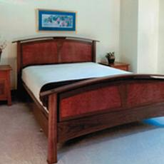 Walnut Bed with Madrone Burl Panels - Walnut Bed with Madrone Burl Panels