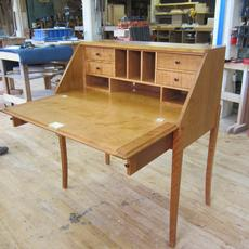 Ladies Desk - Cherry drop front desk with curved legs