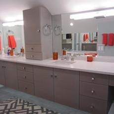 Glazed painted vanity - Gray glaze over Maple cabinetry