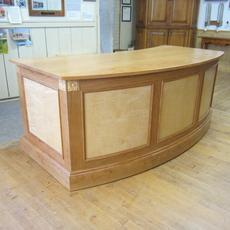 Curved Cherry Desk  - This desk has Tiger Maple panels and 2 drawers with curves front & back