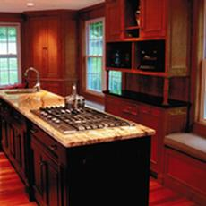 Tiger Maple Kitchen with Distressed Black over Red Accents - Tiger Maple Kitchen with Distressed Black over Red Accents